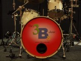 3Bs Tribute band drum kit with stage logo for Bee Gees Beach Boys and Beatles