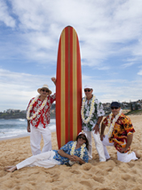 3Bs Beach Boys photo with 60's surfboard  taken at Curl Curl beach on Sydneys Northern beaches.